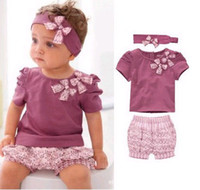 Wholesale AMISSA girls suits baby girls short sleeved purple t shirt ruffle shorts headband pc sets suits