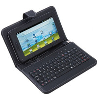 Wholesale 7 Leather case with USB keyboard for Tablet pc notebook MID epad cover bag black white