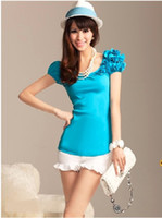 Wholesale 2012 pink dolls spring amp summer shoulder with flowers rib short sleeved T shirt