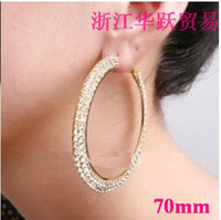 Wholesale Basketball wives hoop earrings Rows crystals Gold polish lady girl earring mm holiday presents