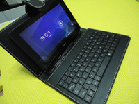Wholesale 7 quot USB Leather Case wtih Keyboard for All inch tablet PC ainol ELF ii aurora tornado ebook MID