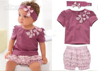 Wholesale New Arriving AMISSA pink butterfly beadband top lace pants Baby Clothing Set Baby Clothes gty