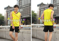 Wholesale badminton sportswear men sleeveless badminton clothes shirt shorts badminton jersey