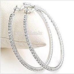 Wholesale Silvertone Big Circle lady s Basketball Wives Hoop Earrings With Crystal Rhinestone Dangle Earring