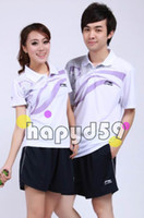 Wholesale lining badminton clothes shirt shorts badminton jersey badminton sportswear couple clothes white