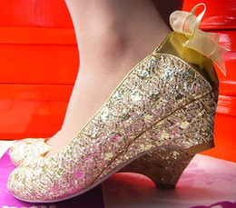 Wholesale low price NEWEST womens fashion heel cm bow flower golden red wedding shoes size US