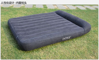 Wholesale queen size air bed INTEX bulit in pillow air mattress free express