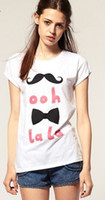 Wholesale Women Girls ooh La La Beard Tie Letters White Cotton Short Sleeved T Shirt Top