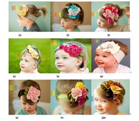 Multi-Color Cotton Christmas 10pcs lot New TOP BABY Crochet Flower Hair Bow Clips Headband Barrette Caps Baby Headdress Head Band