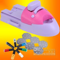 Wholesale DIY NAIL ART STAMPING PRINTING MACHINE POLISH amp TEMPLATE PINK PURPLE COLOR