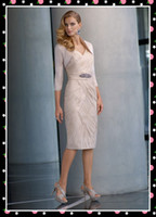 Wholesale 20 Off Mother Of The Bride Dress V Neck Knee Length Fold Sequins Taffeta Evening Dresses