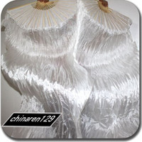 Wholesale ALL WHITE cm SILK FAN VEILS IN STOCK Dance Fan Veil Left hand amp Right Hand pair