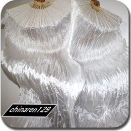 Wholesale ALL WHITE cm SILK FAN VEILS IN STOCK Dance Fan Veil Left hand amp Right Hand pair