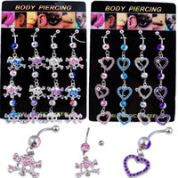 Wholesale Skull Body piercing jewelry belly button navel rings heart fashion female body piercing BJ058