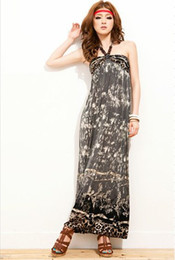 Wholesale Hot Bohimia Floral Maxi Dress Blue Gray