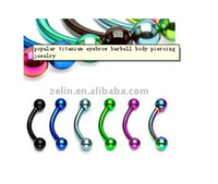 Wholesale popular titanium eyerow barbell piercing jewelry stainless steel sevsral colors