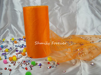 Wholesale 100M X CM wdith Orange ROLL OF CRYSTAL ORGANZA SHEER FABRIC WEDDING CHAIR BOWS TABLE RUNNER