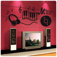 Vinyl art house designs - House of Music WALL DECALS ART MURAL WALL STICKER WALL DECOR Y