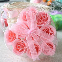 Wholesale Rose Petals Soap In Heart shaped Box Gift Appliance Mix Color Box Colors Choose