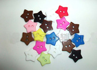 Cheap 100pcs 17MM 2 Holes Multi color Star Shape Buttons Sewing Buttons fastener Scrapbooking B014