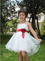 Wholesale Child flower girl dress wedding dress skirt for kids and girls white color dress with red ribbon HOT