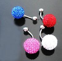 Wholesale Mixed colors Clay navel nail Shambhala disco ball Crystal Navel nail