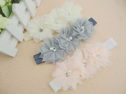 Triple Tulle mesh Flower Headbands Matching Pearl Rhinestone Shabby Chiffon Hair Band Photography Props 20pcs lot QueenBaby