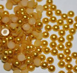 2000pcs 4MM Yellow Half Round Pearls Beads Flatback Scrapbooking Embellishment DIY Making