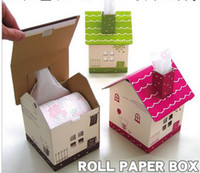 Wholesale Creative folding house shaped standing Tissue Boxes Holder Paper Pot cases Container bucket Bins DIY