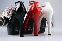 Wholesale 2012 most popular color waterproof high heeled shoes patent leather shoes red white black wedding