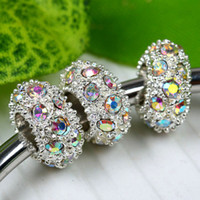 Wholesale AB Crystal Silver Plated Big Hole Spacer Bead Crystal Loose Bead Fit Charm Bracelet