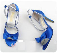 Wholesale satin blue women dress shoes ladies high heel shoes women dresses shoes