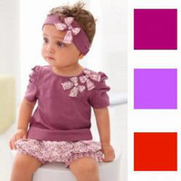 Wholesale 3 Colours AMISSA piece clothing set Baby Girls Girl headband tops shorts baby Girl Outfit CLT008