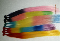 Wholesale RAINBOW TIE DYE SYNTHETIC FEATHERS inch beads and needle fashion hair