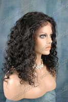 Wholesale 2014 Hot Lace Front Wigs Indian Remy Human Hair quot quot Deep Wave B Off Black Cheap Wigs