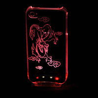 Cheap LED light-emitting shells Hard Plastic Case cover for iphone 4 4s LED Case Dustproof&Charger cable