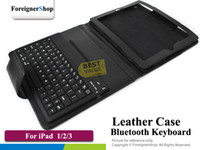Wholesale For iPad The New PU Stand Folio Folding Leather Case With Wireless Bluetooth Keyboard