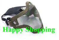 Wholesale Half Face Metal Mesh Protective Mask Airsoft Paintball Resistant Green Camo