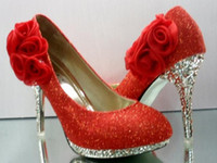 Wholesale Party princess red champagne flowers high heel wedding evening shoes dress shoeses pump