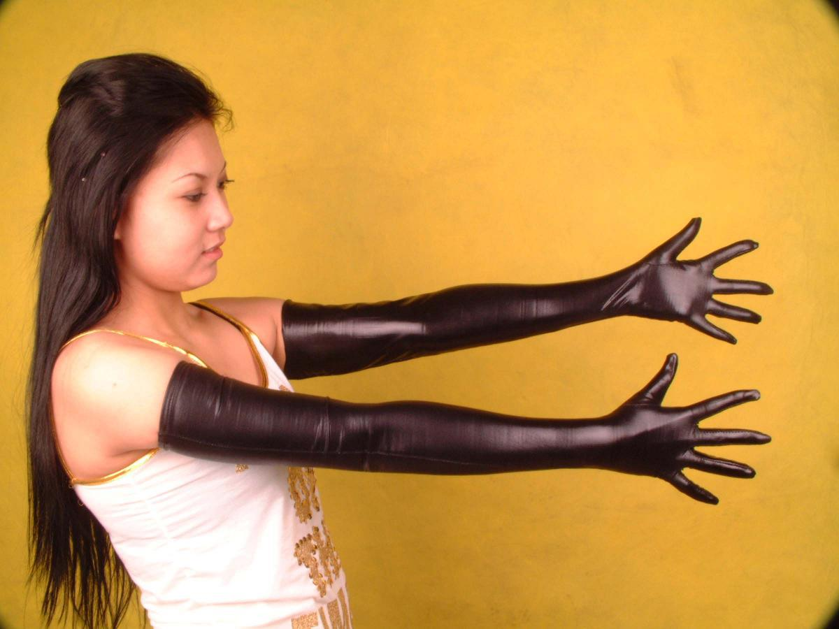 Long black leather gloves prices - Sexy Lycra Spandex Zentai Costume Black Metallic Long Gloves Online With 14 21 Piece On Colas S Store Dhgate Com