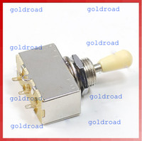 Wholesale Freeshipping New Chrome Box Style Way Closed Toggle Switch For Electric Guitar Cream Knob
