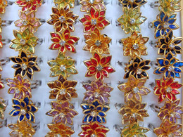 Jewelry Ring mixed Color 30pcs Flower Resin Rhinestone Crystal Silver Gold tone Rings Fashion