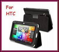 Wholesale CHpost Black PU Leather Case cover with Stand For HTC Flyer Tablet Tab RW L11