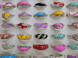 Jewelry Ring mixed 100pcs Glaze cz Rhinestone & metal alloy with & silver plated rings
