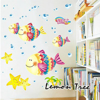 Wholesale Vinyl Cartoon Fish Wall Art Stickers Wall Decals Baby Kids Room Decor Sticker Graphic Set