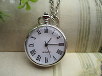 Wholesale Roman numerals Pocket Watch Sliver color Chain Gift