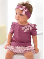 Wholesale AMISSA Baby Clothing Sets Butterfly Headband T Shirt Lace Pants Clothing Set Baby Clothes D