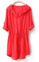 Wholesale Casual Women s Hooded Red Loose In The Long Chiffon dress