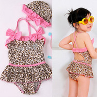 Wholesale Baby girl piece leopard Swimwear zebra print girls swimsuit swim pool items bath kids swim suits