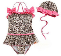 holding - Baby swimwear Leopard piece swimsuit piece Neck piece swimsuit holding swimming cap swimwear suits